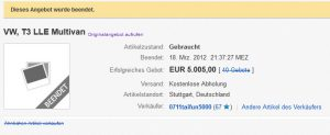Verkauf des Auto bereits in 2012 über Ebay